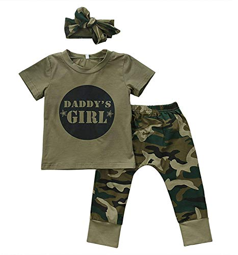 Camo Baby Girl Clothes, Toddler Boys Camouflage Short Sleeve T-Shirt Tops Green Long Pants Outfit Headband Casual Outfit (1Girl, 12-18Months)