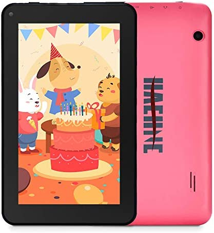 "Haehne 7 inch Tablet, Android 9.0 Pie, 1G RAM 16GB Storage, Quad Core Processor, 7"" IPS HD Display, Dual Camera, FM, WiFi Only, Bluetooth, Pink"