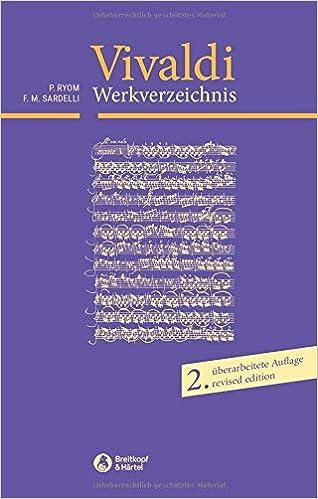 Antonio Vivaldi Verzeichnis Seiner Werke Livre Sur La Musique
