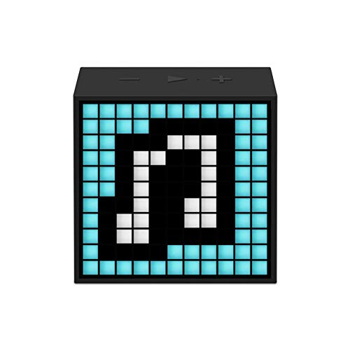 Timebox Wireless Bluetooth Speaker Portable Mini Pixel Art, 24 Large Functions with 16 16 Mobile App Programmable LED Image Dynamic Light Time Display Bedside Alarm Clock