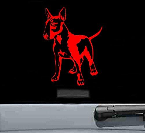 Cute bull terrier Vinyl Decal Sticker dog pet (RED)