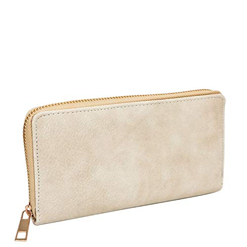 - Women Simple Long Wallet Zipper Around Credit Card Holder Beige