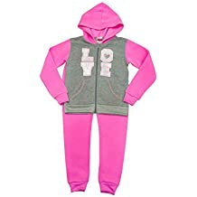 The DivaCup Diva Girls & Toddlers Printed Fleece Clothing Sets With Pants & Zip-Up Hoodie