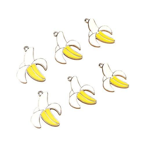 - SANQIU 20PCS Enamel Banana Charm Fruit Pendant for Jewelry Making and Crafting