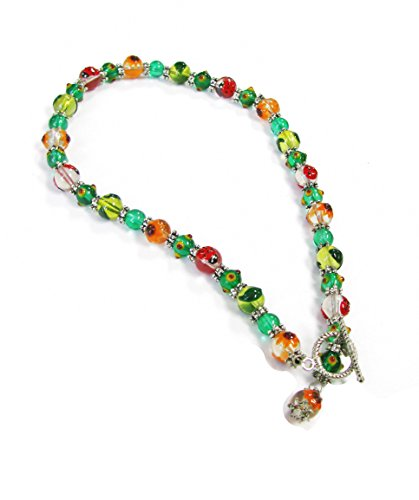 Linpeng Ladybugs & Flowers Hand-Paint Glass Beads Toggle Necklace, Mixed Colors