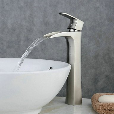 BC Contemporary Centerset Waterfall with Ceramic Valve Single Handle One Hole for Nickel Brushed Bathroom Sink Faucet