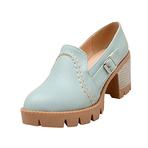 Charm Foot Womens Fashion Platform Chunky Heel Pumps Shoes Blue qubXoRzLHU