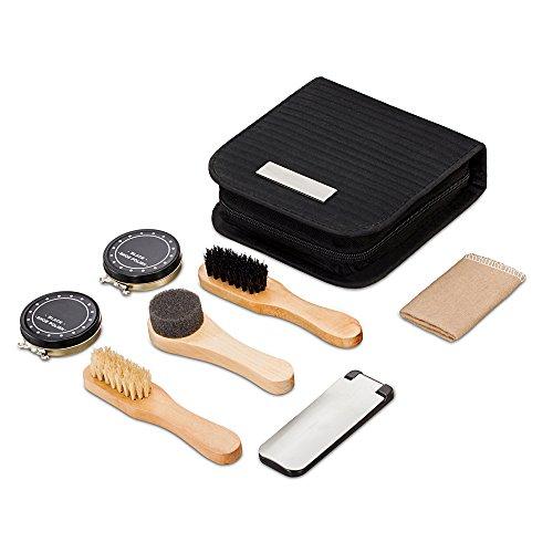 chuanyuekeji Shoe Shine Kit & Shoe Care Valet with PU Leather Sleek Elegant Case, 7-Piece Travel Shoe Shine Brush kit (Black) by chuanyuekeji