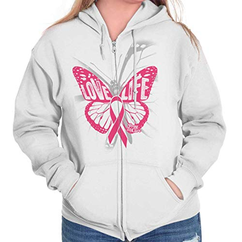 Love Life Butterfly Breast Cancer Awareness Zip Hoodie White