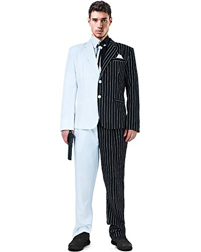 Miccostumes Two-Face Cosplay Suit Costume with Tie and Fake Collar (Men, XL)