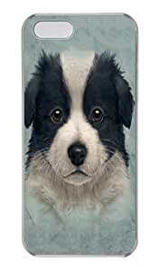 Kids Border Collie Puppy Custom PC Case Cover for iPhone 5 and iPhone 5s Transparent