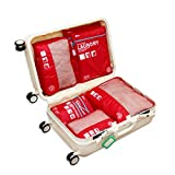 Packing Organizers - Clothing Cubes Shoe Bags Laundry Pouches For Travel Suitcase Luggage, Lightweight Ultrathin Storage Organizer 7 Set Color Red