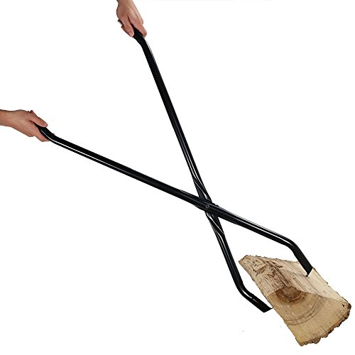 Sunnydaze 40 Inch Log Claw Grabber, Large Fire Tong Tool for Easily and Safely Moving Firewood, Black ()