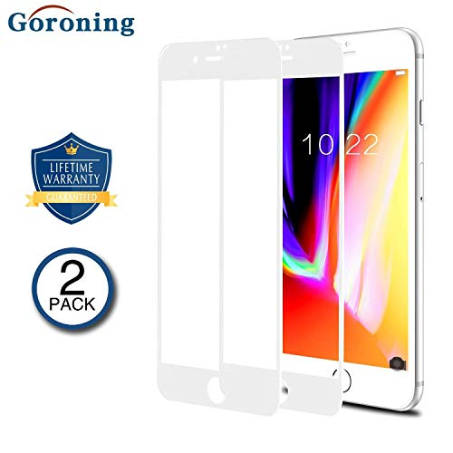 GORONING [2 PACK] iPhone 8 Plus/7 Plus 3D Screen Protector [Edge to Edge Coverage] Premium Tempered Glass Screen Protectors for Apple iPhone 8 Plus/7 Plus Bubble Free Case Friendly (White)