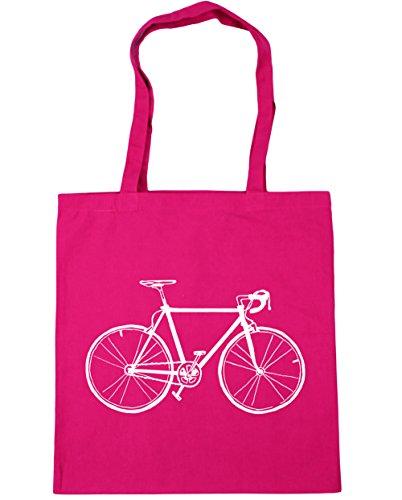 HippoWarehouse bike illustration Tote Shopping Gym Beach Bag 42cm x38cm, 10 litres Fuchsia