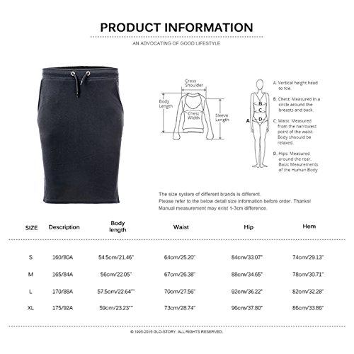 glostory de la mujer Casual elastric cordón en la cintura Mini tenis falda 1080 Negro