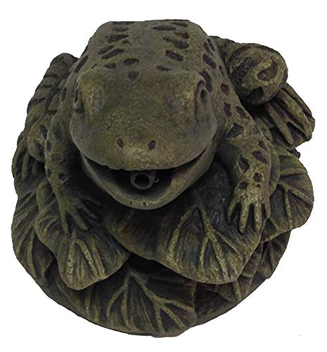 Massarelli's Frog On Leaves Plumbed Spitter - Solid Cast Stone Lifelike Statue, Great Pond and Garden Gift Idea, Durable and Fun Sculpture Art by Massarelli's (Image #1)
