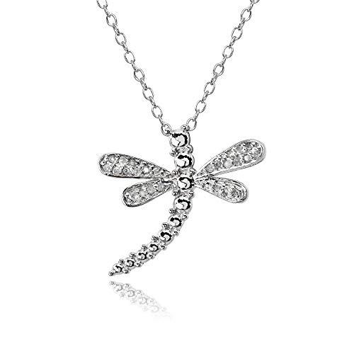 Sterling Silver Polished Dragonfly Diamond Accent Pendant Necklace, JK-I3 ()