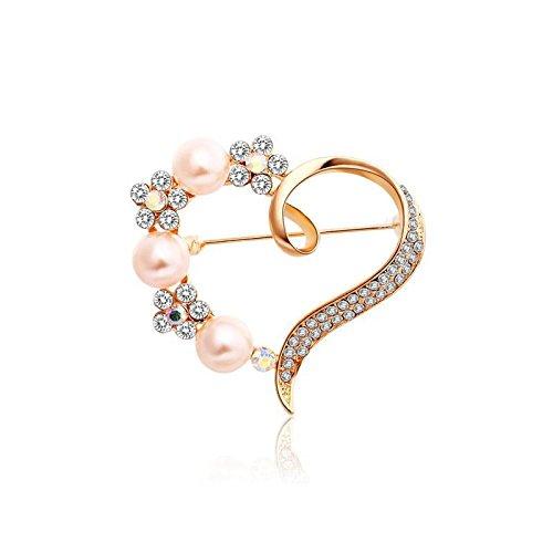 Crystal Slider Case (Headwear & Brooches - Heart Artificial Pearl Flower Crystal Rhinestone Pin Brooch - 1PCs)