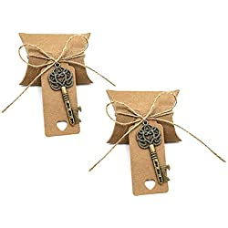 50pcs Skeleton Key Bottle Opener Wedding Party Favor Souvenir Gift Set Candy Box Escort Card Tag and Jute Rope(Bronze Keys)