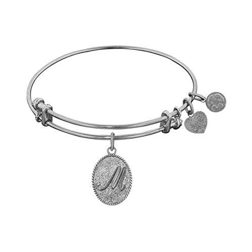 """Angelica White Brass Initial Letter M Bangle Bracelet, 7.25"""" -  WGEL1167"""