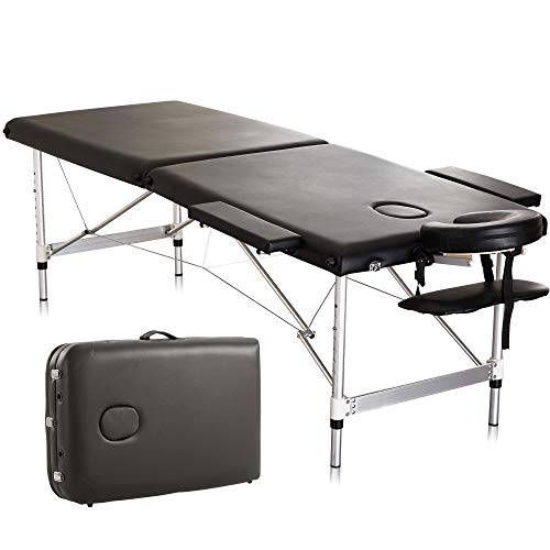 Massage Table Spa Bed 76″ Aluminum Height Adjustable 2 Fold Salon Bed with Carrying Bag,Black
