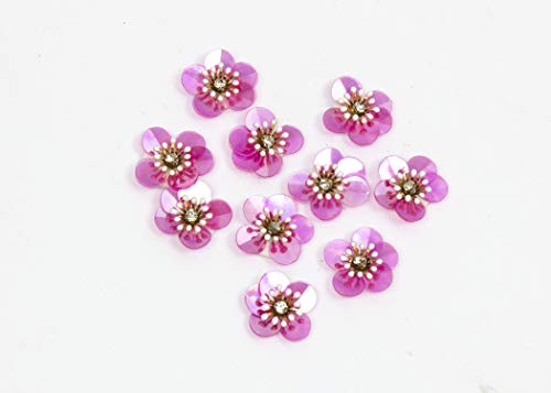 Sequin Flower 3D Applique 10 Pieces - Iridescent Hot Pink - 1