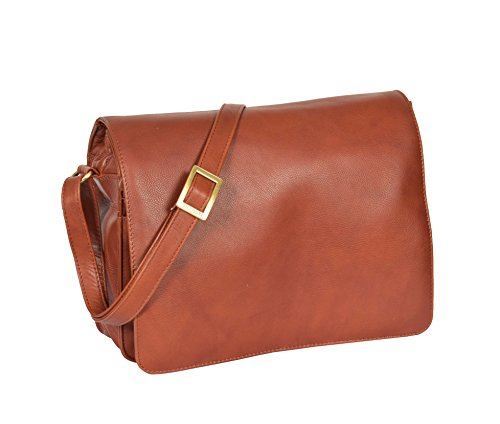 Flap Medium Cross A54 Bag Body Leather Size Womens BROWN Shoulder Bag Over x8IUnqYPw