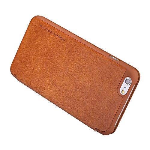 (HS-TOP  ® NILLKIN Qin leather case cover Conque Abdeckung PU-Leder Tasche Schutzhülle für Apple iPhone 6 Plus (5,5 Zoll/14 cm, braun