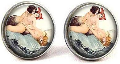 [해외]Mermaids in Waves Brooch - Flapper Mermaids - Mermaid Jewelry - Frolicking Mermaids - Mermaid Brooch Dance Recital Earrings Literary Jewelry / Mermaids in Waves Brooch - Flapper Mermaids - Mermaid Jewelry - Frolicking Mermaids - Me...