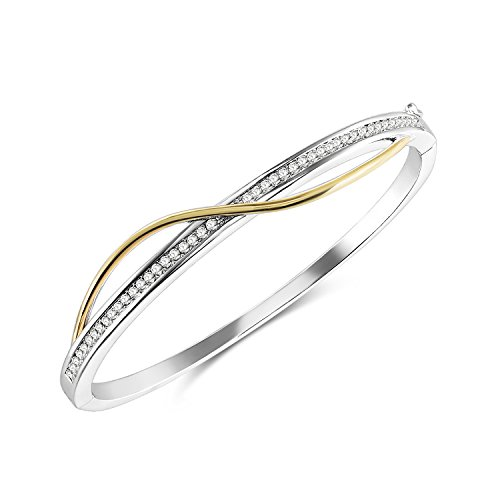 (THEHORAE 'S-Curve' Entwined Bangle Bracelet 14K White Gold Plated Women Jewelry,Crystals from Swarovski, Luxury Gift Box Packaged)