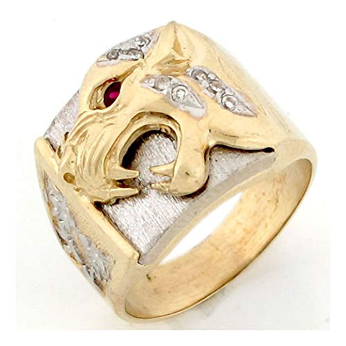 10k Two Tone Gold Panther Head Fancy CZ Mens Heavy Ring (Style# 2521) - Size 13