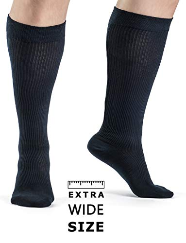 Medical Grade Plus Size Wide Calf and Ankle Gradient Compression Socks Men 20-30 mmHg or Women Unisex Organic Cotton Compression Socks Travel Athletes Sports Diabetics (XXL)