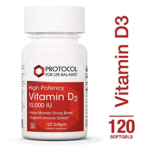 Protocol For Life Balance - Vitamin D3 10,000 IU - High Potency - Supports Calcium Absorption, Bone and Dental Health, Immune System Function, Nervous System, Cognitive Function - 120 Softgels