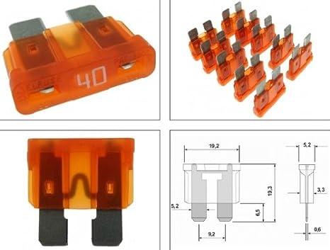fuse Sicherung Flachsicherung E-Bike 40 Amp 6 Stück orange