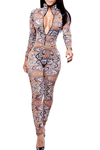 HOTAPEI Women Turtleneck Long Sleeves Printed The Thai Tribal Jumpsuit Pants Large