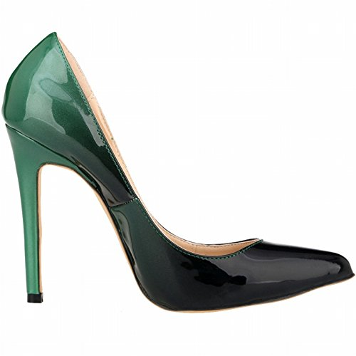 ZCH large High Color Stiletto Heels Party Pointed Women's Gradient 42 Leather Patent Pumps 42 size wqwR7rz