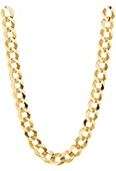 """14K Solid Yellow Gold Comfort Concave Cuban Curb Link Chain Necklace 8.2 Mm 18""""-30""""Cc210"""