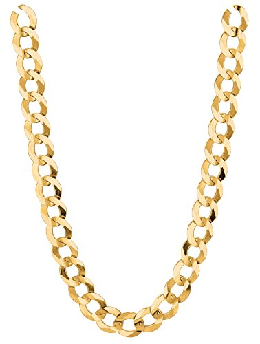 14K Solid Gold Comfort Concave Cuban Curb Link Chain Necklace 5.7 Mm