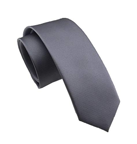 (Men's Narrow Grey Woven Silk Tie Polyester Soft Regular Business Wedding Necktie)