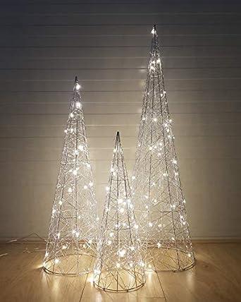 Weihnachtsbeleuchtung Kegel.3 Teilig Led Dekorative Weihnachtsbeleuchtung Silber Kegel Advent