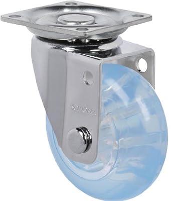 "Schioppa, GLAP 210 GEL Blue, 2"" (50 mm) Swivel Non-Brake Caster, Non-Marking Polyurethane Whl, 90 lbs, Plate: 1-21/32 x 1-21/32"" (BH 1-1/4 x 1-1/4"")"