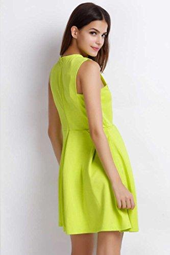 Dress Green line Easy Women's A Achicgirl Sleeveless Xaq4Rwxz