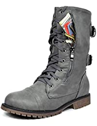 Women's Winter Lace up Mid Calf Combat Boots