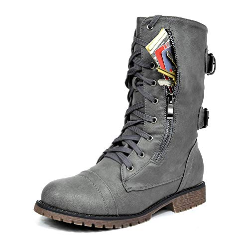 DREAM PAIRS Women's Terran Grey Mid Calf Built-in Wallet Pocket Combat Boots - 9 M US