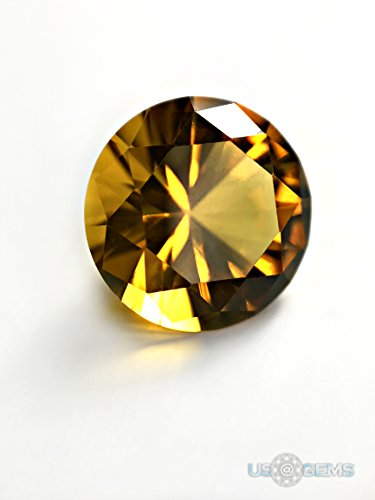 Citrine Golden #173. Round 10 mm. 3 ct. SIAMITE Nanocrystal Created Gemstone US@GEMS (Gem Sapphire Yellow Brilliant)