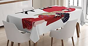 Japan Tablecloth by Lunarable, Illustration with a Geisha Cherry Blossoms and Kanji Letters Asian Kimono Costume, Dining Room Kitchen Rectangular Table Cover, 52 W X 70 L Inches, Multicolor