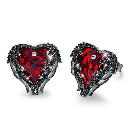 CDE Angel Wing Women Studs Earring Dark Red Crystal Heart Ocean Jewelry Embellished with Crystals from Swarovski Earrings Hypoallergenic & Nickel Free, Gift for Mother Day