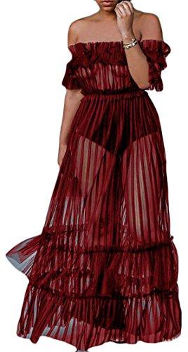 Femmes Cromoncent Maille Club Sexy Robes Robes Plissées Swing Transparent Épaule Rouge