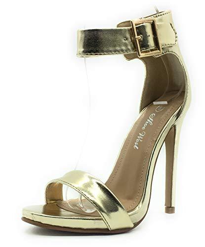 (Sexy Open Toe Pump Shoes -Cross Strap Party Dress Platfoms Ankle Strap Dress High Heels Stilettos Gold pat 9)